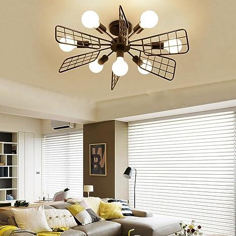 Moderno Creativo Lámparas de techo 7 luces Hierro Negro ...