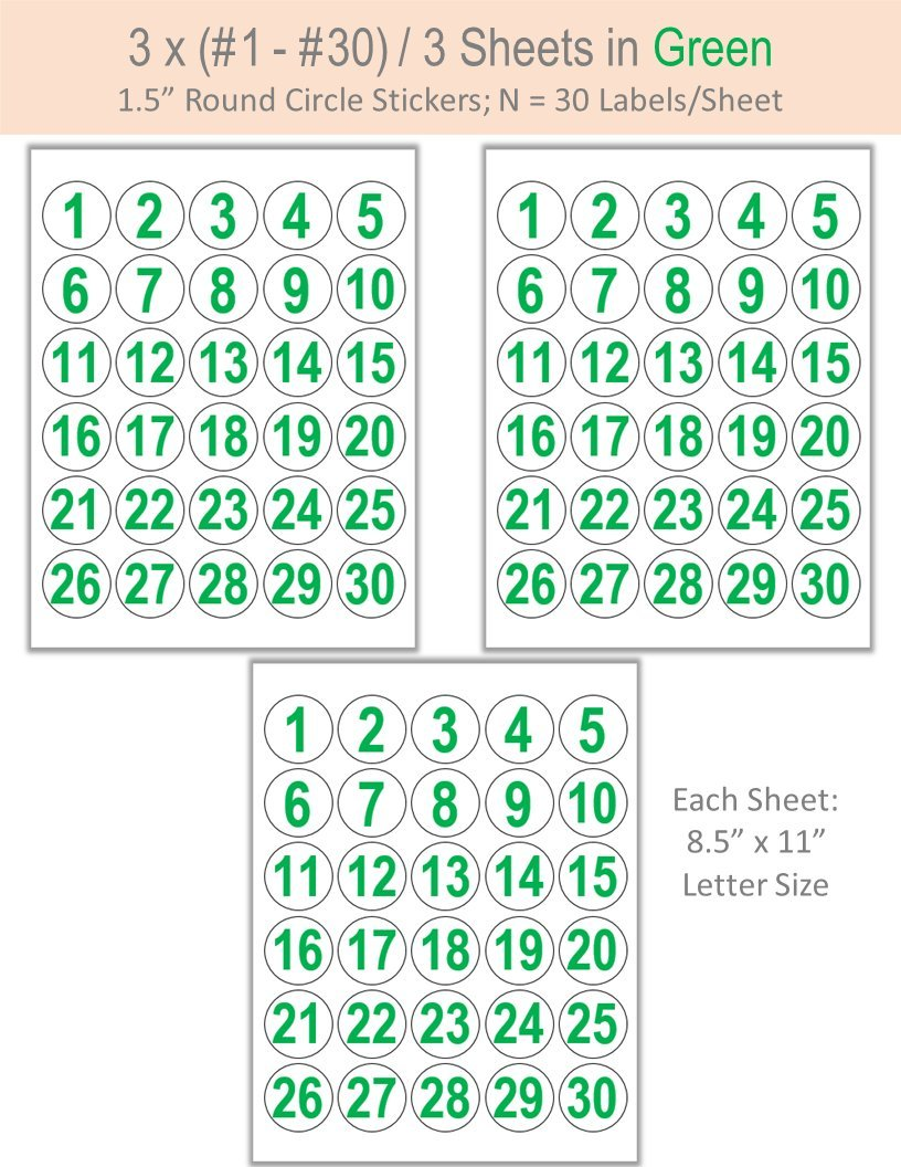 3 x (#1 - #30) Sticker On 1.5'' Round Circle Label: In Green Ink - White Matte Finish (Green) by Crystallization (Image #1)