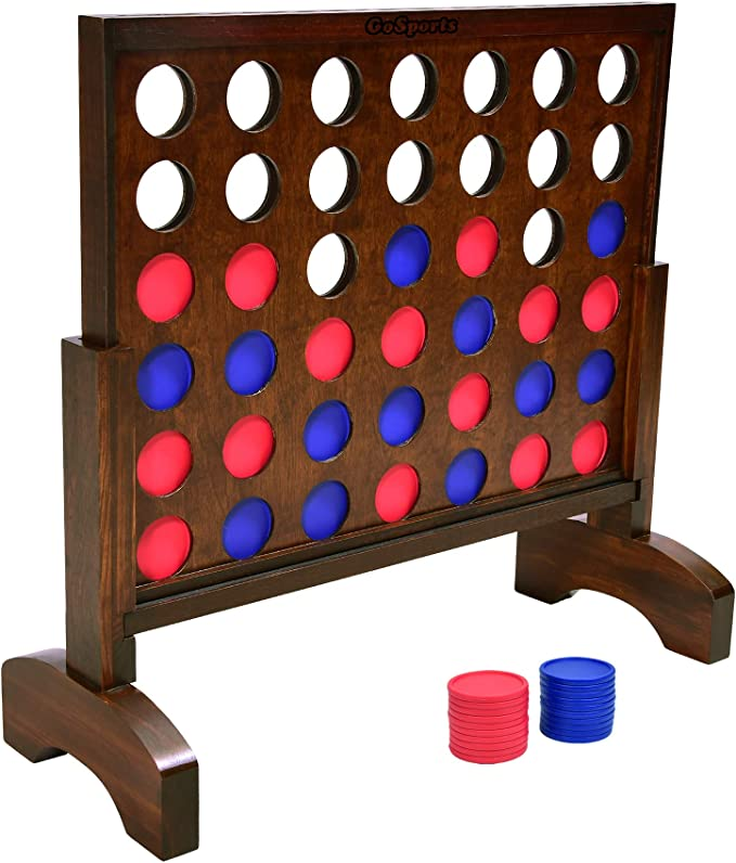 Amazon.com: GoSports Giant Wooden 4 in a Row Game - Choose Between Classic White or Dark Stain - 2 Foot Width - Huge 4 Connect Family Fun with Coins, Case and Rules: Sports & Outdoors