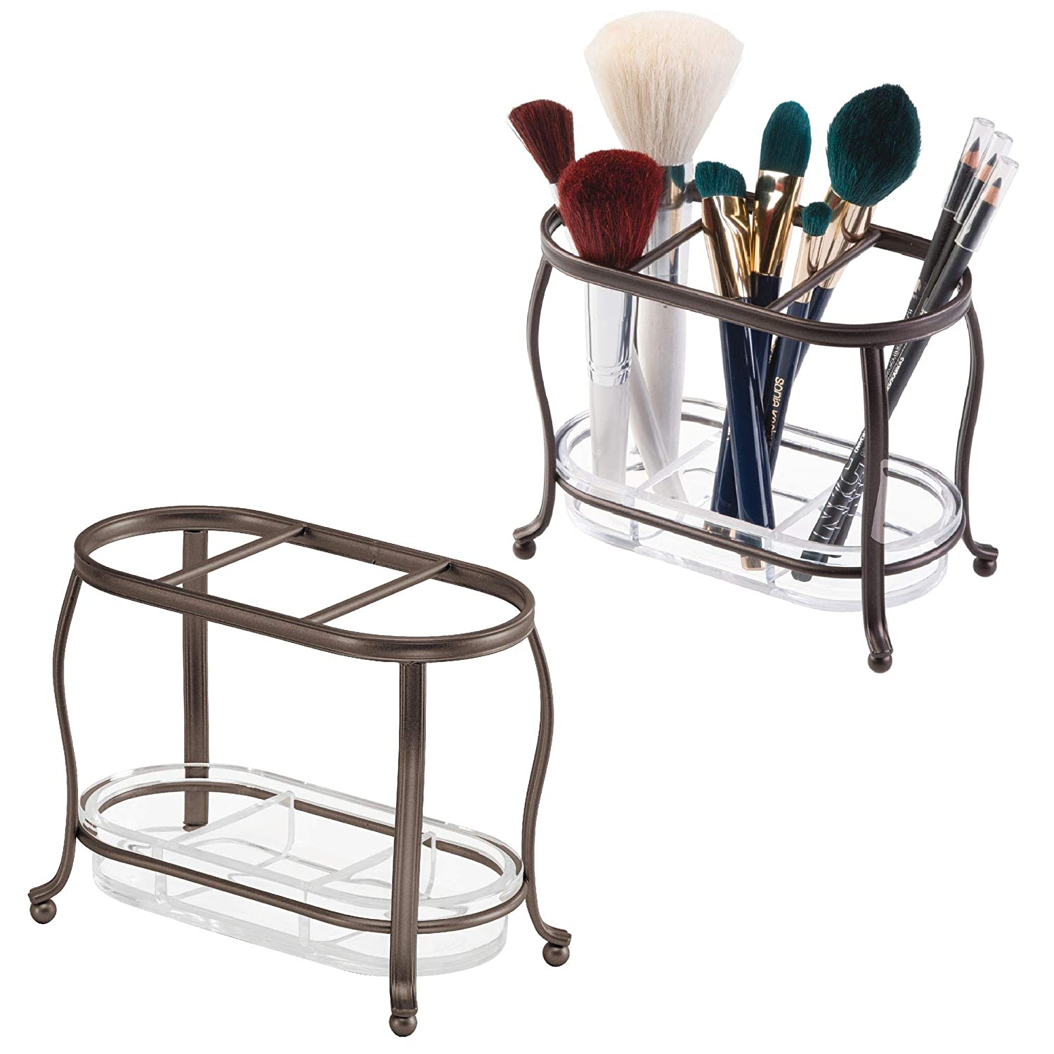 mDesign Decorative Makeup Brush Storage Organizer Tray Stand Bathroom Vanity Counter Tops, Dressing Tables, Cosmetic Stations - 3 Sections Removable Bottom Tray - Pack of 2, Bronze/Clear MetroDecor