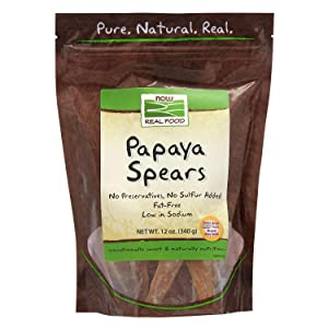 NOW Foods, Papaya Spears, No Preservatives or Added Sulfur, Fat-Free and Low-Sodium, 12-Ounce