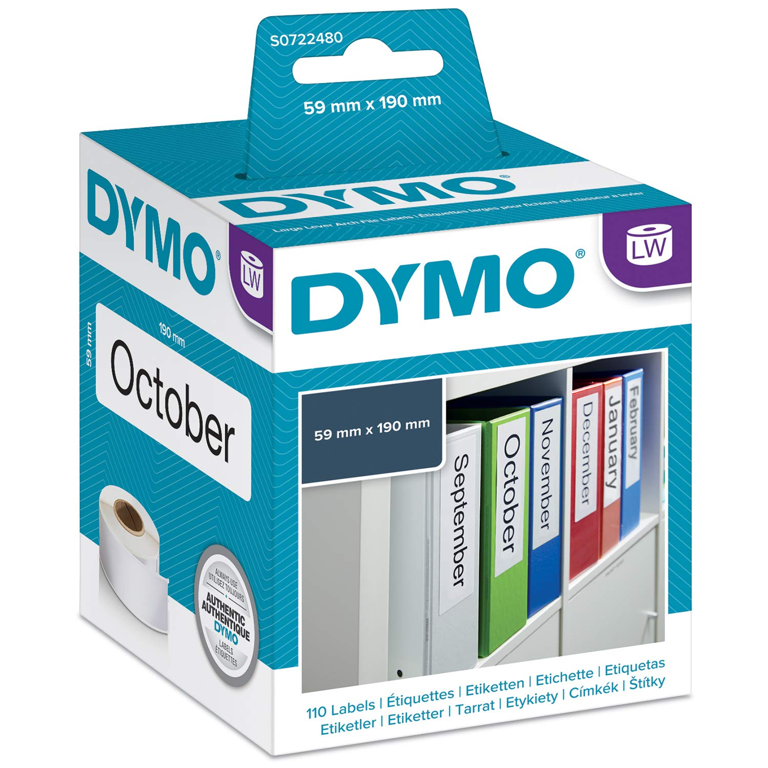 DYMO LW 1 Part Internet Postage Labels for LabelWriter Label Printers, White, 2-5/16'' x 7-1/2'', 1 roll of 110 (99019) by DYMO