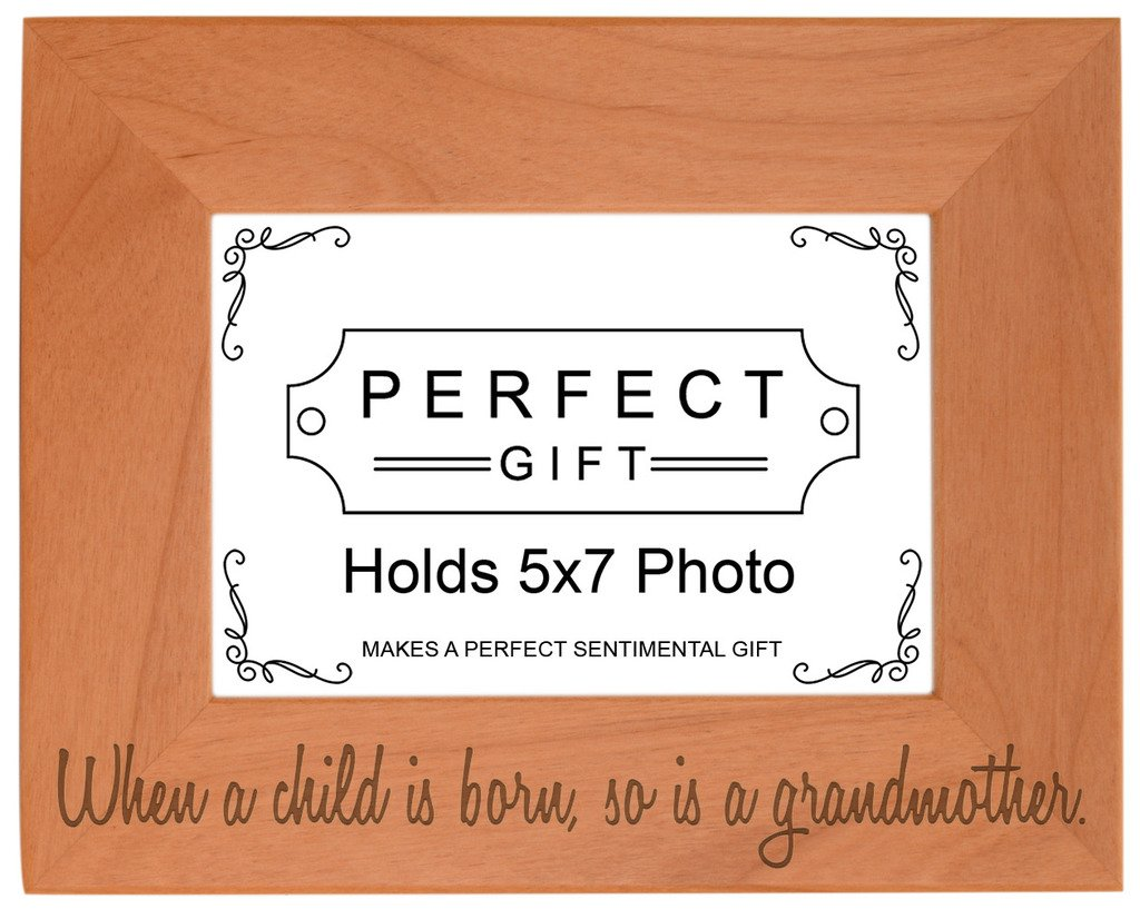Gifts For All By Rachel Olevia Mothers Day Child is Born So is Grandmother Natural Wood Engraved 5x7 Landscape Picture Frame Wood