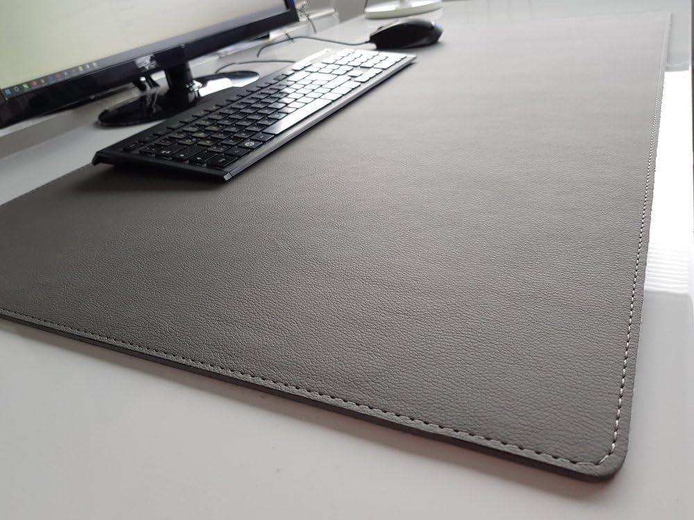 PM Schreibtischunterlage sanft lux Leder 60 x 40 Grau mit Graue Naht