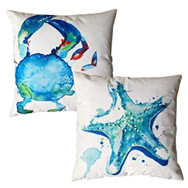 ULOVE LOVE YOURSELF Watercolor Sea Theme Pillow Cases Crab Starfish Throw Pillow Covers Coastal Beach Style Home Decorative Square Cushion Cover 18 X18 ,2Pack (Watercolor Crab &Starfish)