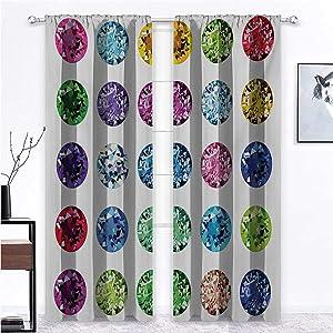 Blackout Curtain Diamond Window Decor Light Block Drapes Round Oval Gems Diamonds Emerald Supreme Sublime Worth World Design Girls Print Home/Office Artistic Décor 2 Rod Pocket Panels, 38