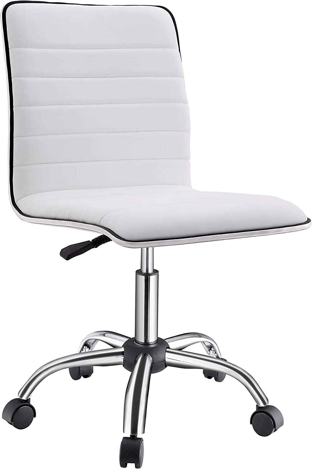 Modern Office Chair, Armless Desk Chair, Office Chair Armless White, Receptionist Task Chair, White Conference Chair