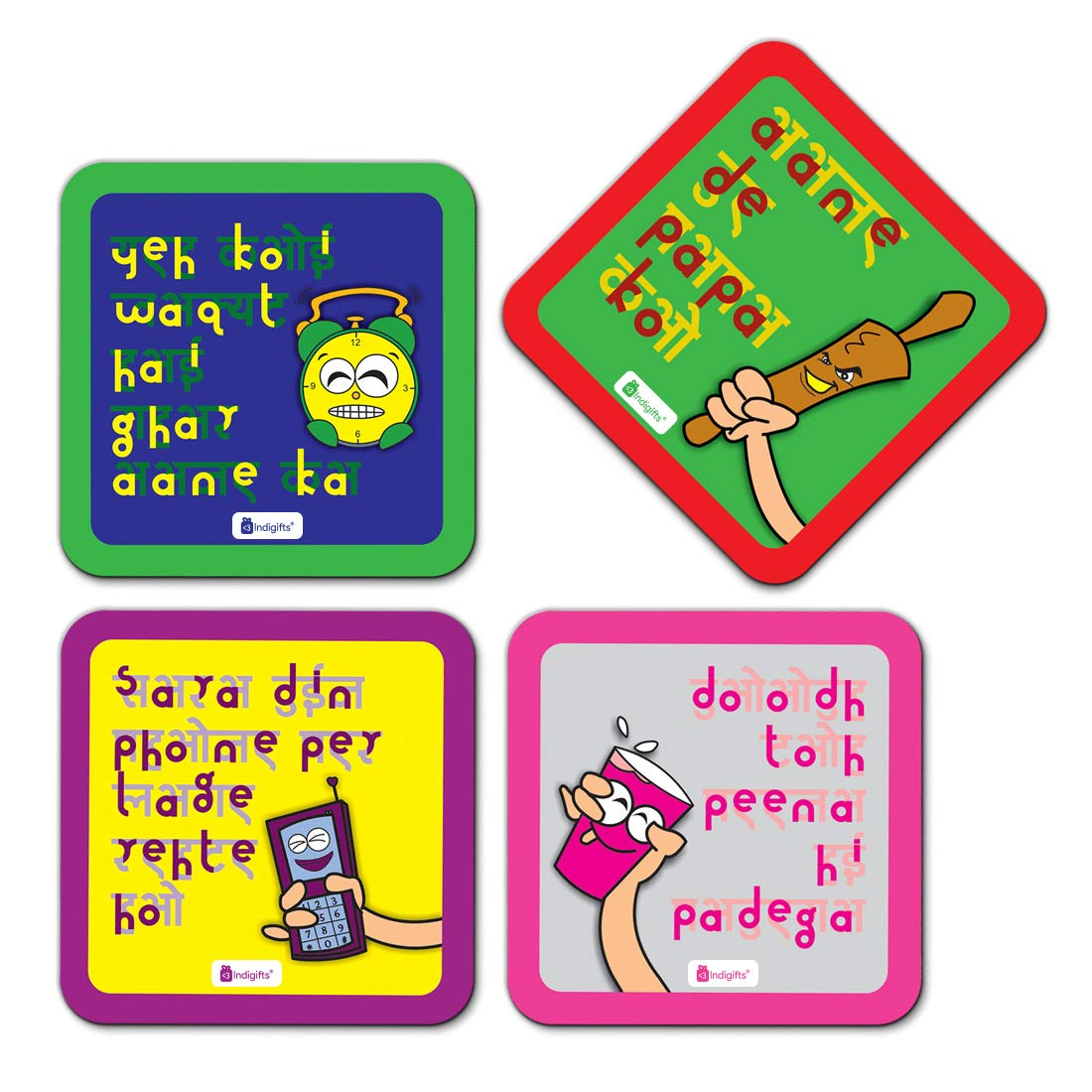 Buy Indigifts Mummy Ke Dialogue Set Of 4 Attractive Coasters