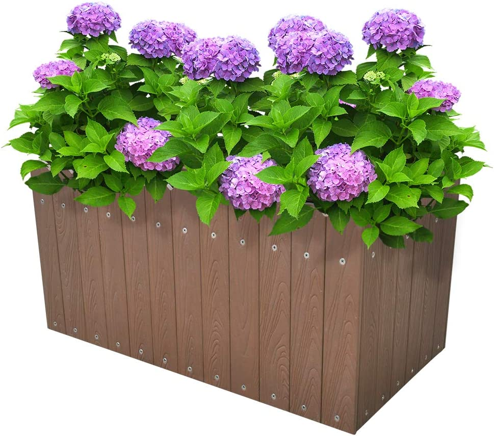 Indoor Outdoor Rectangular Planter Box Flower Vegetable Raised Planter Box Herb About Ground Plantar Box 12.5 Gallons Brown