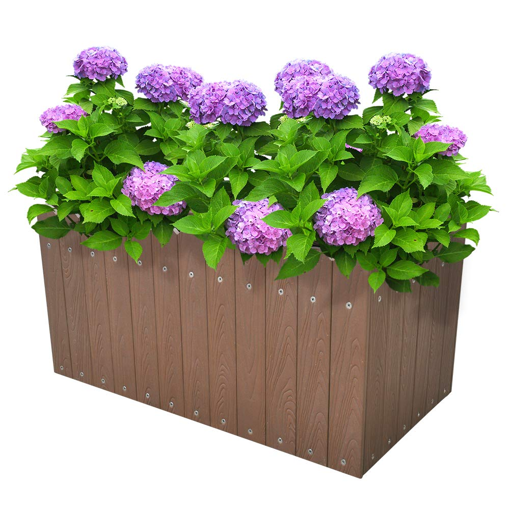 Indoor Outdoor Rectangular Planter Box Flower Vegetable Raised Planter Box Herb About Ground Plantar Box (12.5 Gallons) Brown