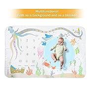 Zoekeroo Monthly Milestone Swaddle Blanket 60 40 ,Gender Neutral Baby Blanket, Monthly Birthday Photo Prop, New Mom Gift for Newborn, Infant, Toddler Boy