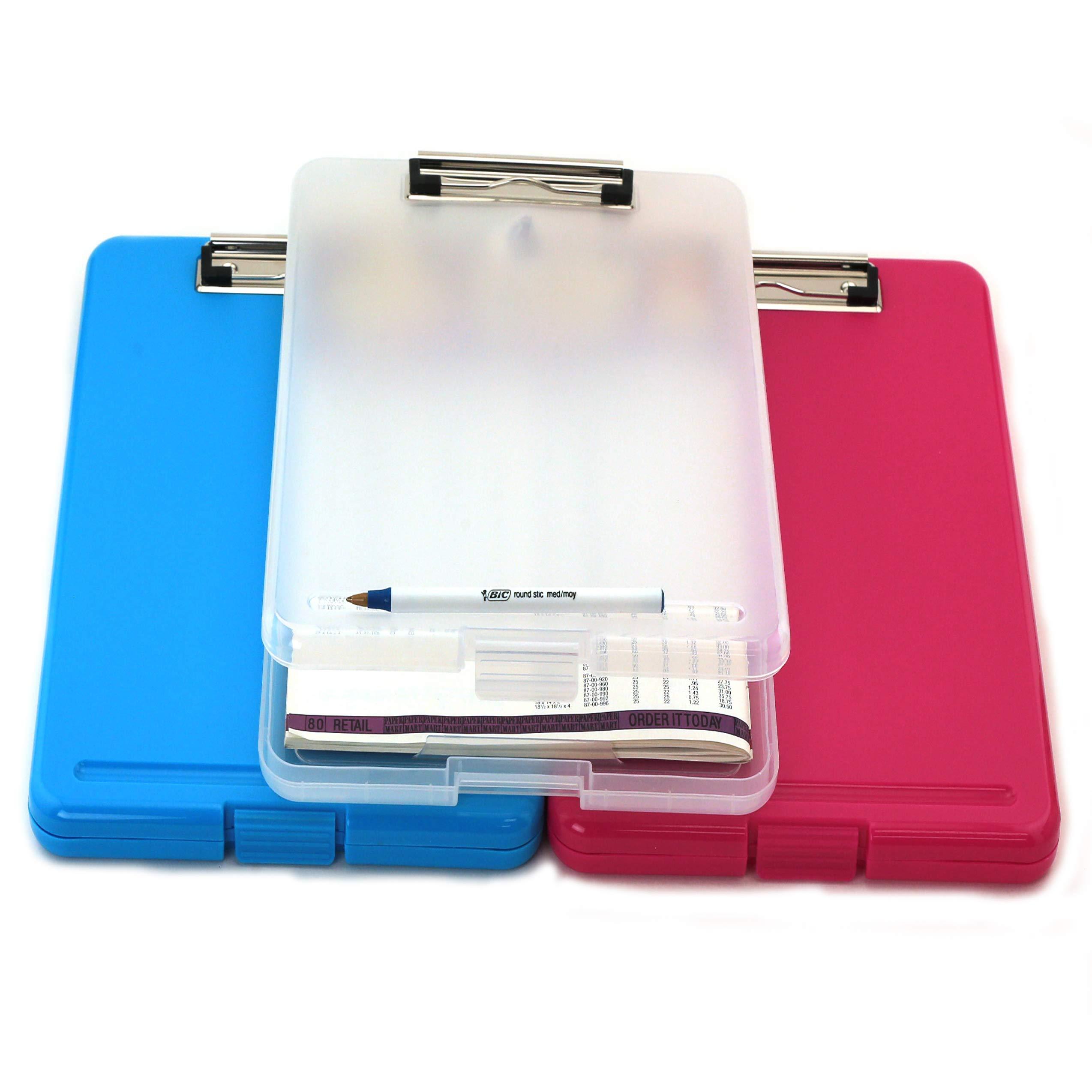 3PC/Set Letter Size Plastic Storage Clipboard Fuchsia, Clear, Sky Blue