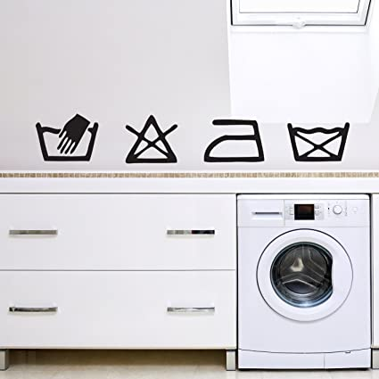 V&C Designs ® Laundry Washing Symbols Wall Sticker Decal Removable Wall  Stickers Art for Utility Room Kitchen Dining Area Home – Regular Size –  Large
