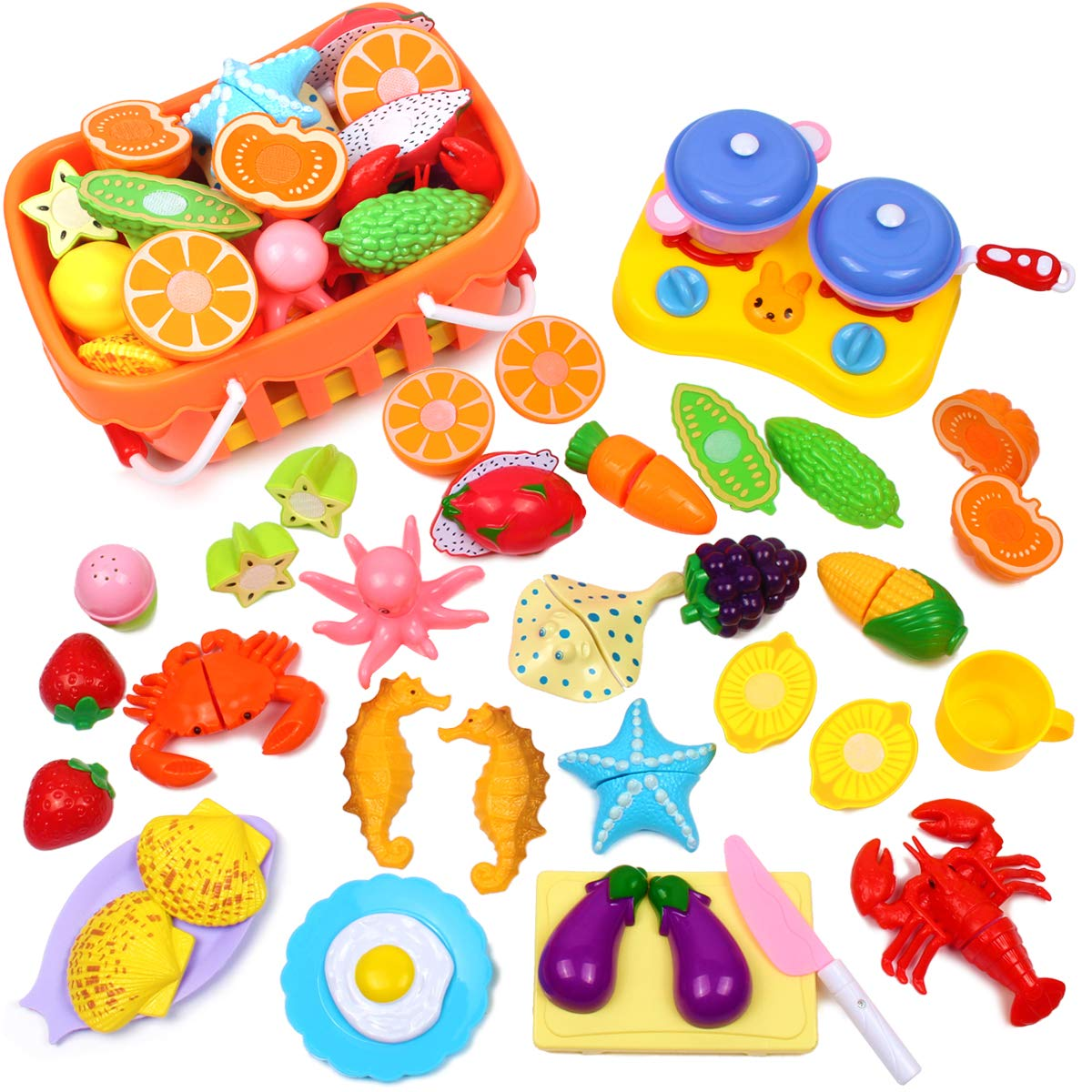 Details about 20 Piece Kids Pretend Food Play Kitchen Toys , Plastic Food  Fruit Cutting Set