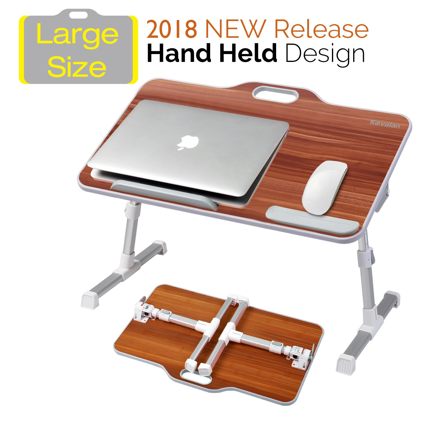 Kavalan [Large Size] Portable Laptop Table with Handle, Height & Angle Adjustable Sit and Stand Desk, Bed & Breakfast Table Tray, Foldable Notebook Stand Holder for Sofa Couch - American Cherry by Kavalan