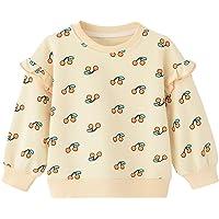 BINIDUCKLING Girl Sweatshirt Toddler Rainbow Graphic Print Long Sleeve Shirt Kid Beige Pullover 18M, 2T-5T