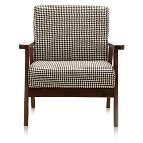 Pleasant Krei Hejmo Vintage Brown Wooden Small Low Seat Armchairs Sofa Couch With Fabric Single Seater Dark Brown Wood Brown Houndstooth Fabric Lamtechconsult Wood Chair Design Ideas Lamtechconsultcom
