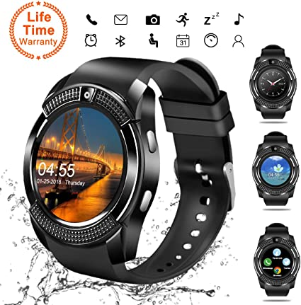 Smart Watch, Bluetooth Smartwatch Touch Screen Wrist Watch with Camera/SIM Card Slot,Waterproof Smart Watch Sports Fitness Tracker Android Phone Watch ...
