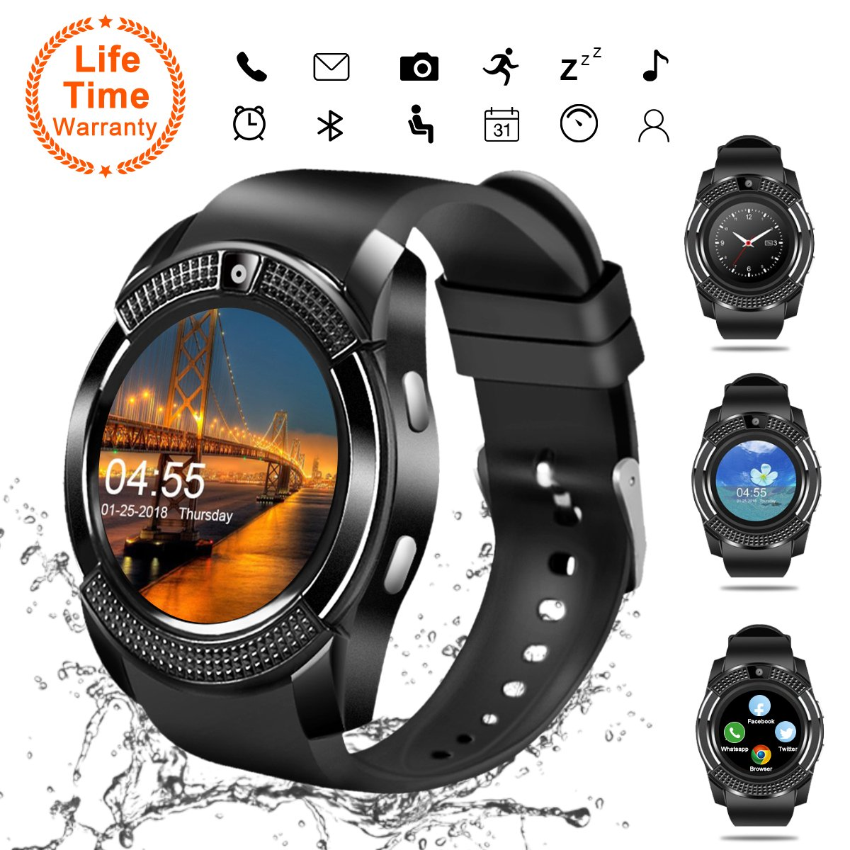Smart Watch, Bluetooth Smartwatch Touch Screen Wrist Watch with Camera/SIM Card Slot,Waterproof Smart Watch Sports Fitness Tracker Android Phone Watch Compatible with Android Phones Samsung Huawei by Topffy
