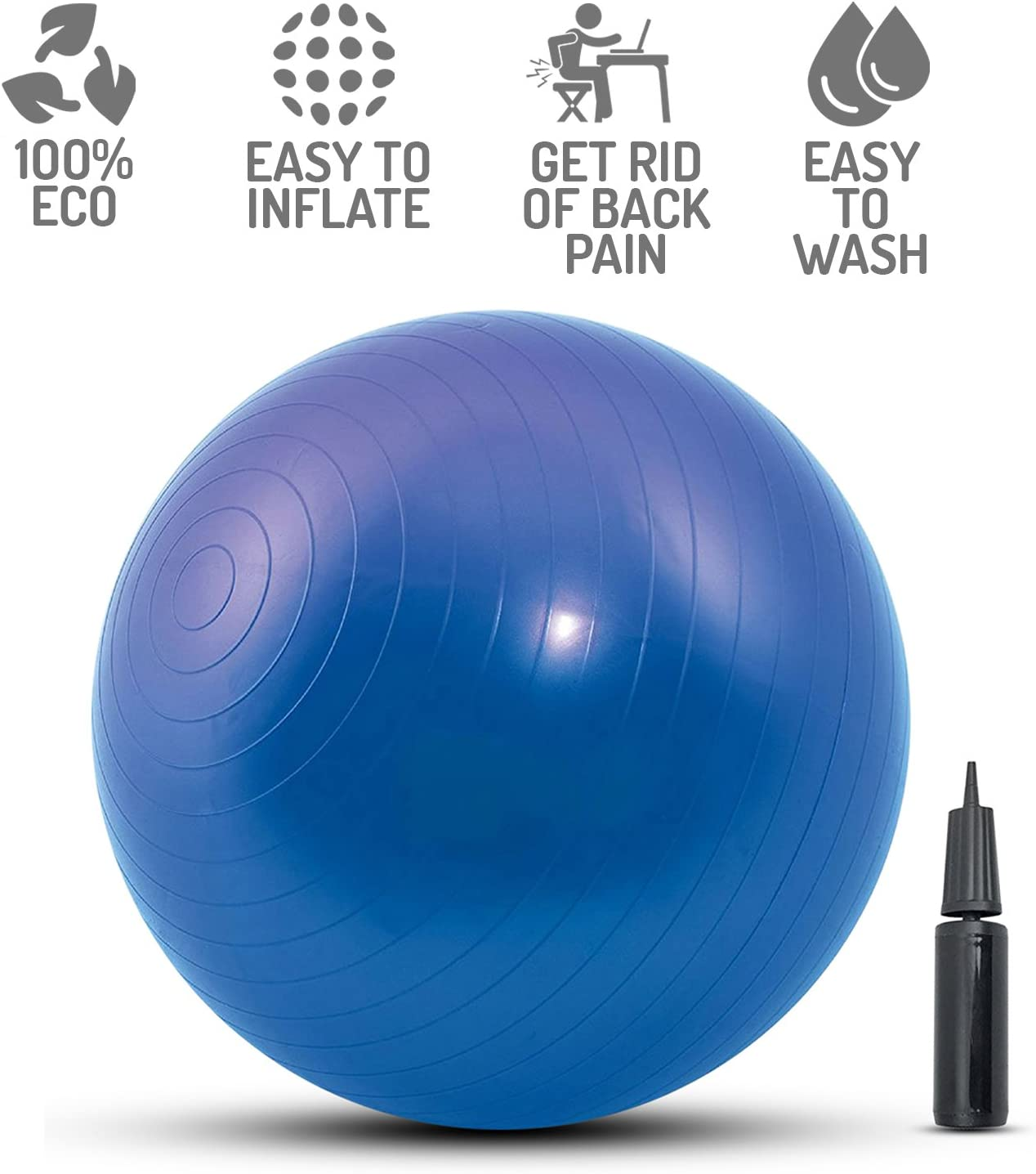Perfect Life Ideas Yoga Ball 65cm Exercise Ball for Adults Home Office Fitness Workout – 65 cm Birthing Ball Pregnancy – Birth Ball for Pregnancy and Labor with Pump Included