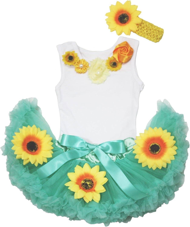 Summer Baby Dress Neck Sunflower Top Aqua Blue Baby Skirt Outfit Set 3-12m