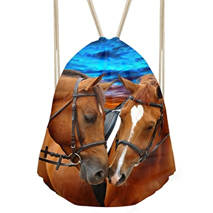 3511e5701eed Amazon.com | Coloranimal Crazy 3D Horse Pattern Drawstring Backpack ...