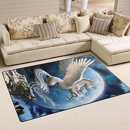 ALAZA Antideslizante área Home Decor, Fantasía Color Blanco Pegasus Piso  Mat Para Salón O Recámara Alfombras Doormats 78,7 X 50,8 Cm, Moderno,  Blanco, ...