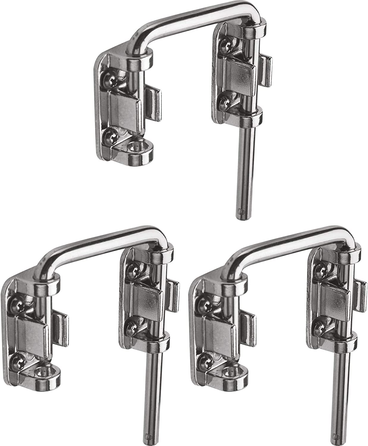 """Install Additional Child-Safe Security Defender Security U 9847 Patio Sliding Door Loop Lock 2-1//8/"""" Hardened Steel Bar with Diecast Base Increase Home Security Chrome Plated 2-Pack"""