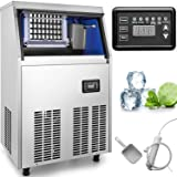 VEVOR Commercial Maker Machine 132LBs/24H with 44lbs Storage Capacity 45 Ice Cubes Per Plate Stainless Steel Portable Automatic Auto Clean for Home Supermarkets