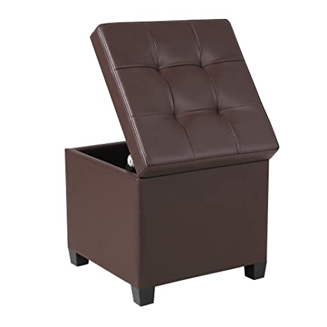 """Songmics 15"""" X 15"""" X 15"""" Storage Ottoman Cube With Hinged Lid Footrest Stool Coffee Table, Holds Up To 660lb, Faux Leather, Brown Ulsf60 Z by Songmics"""
