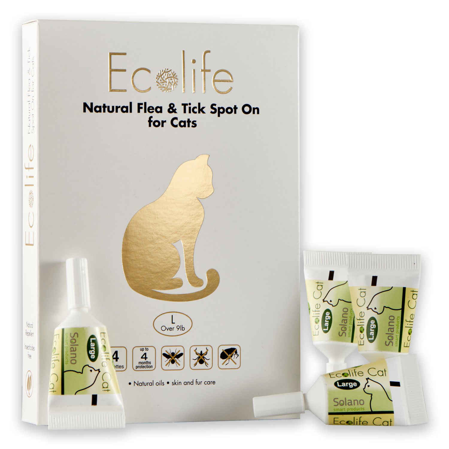 Ecolife Spot On Flea and Tick Repellent for Cats and Kittens (Large)