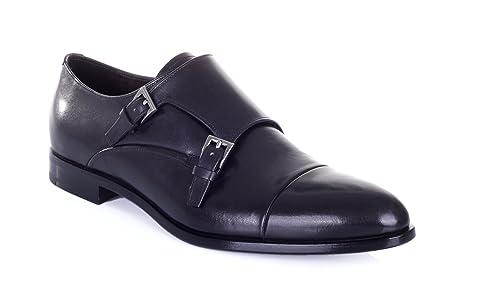 nuova collezione d2702 16788 Prada Scarpa Uomo in Pelle Classica Nero Double Monk Strap ...