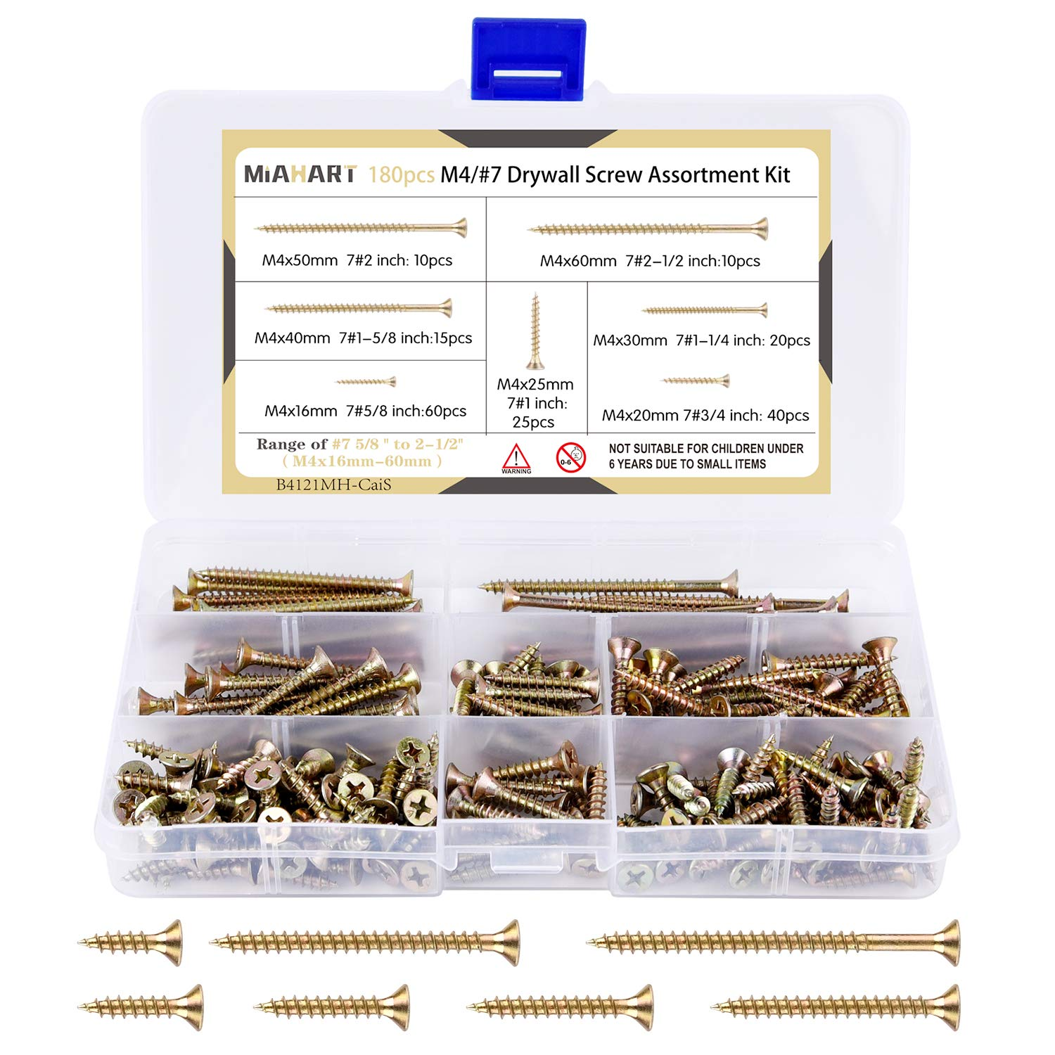MIAHART 180 Pcs #7 Zinc Plated Drywall Screw Assortment Thread Sharp Point Self Tapping Screws Drywall Screws for Drywall Sheetrock Wood Furniture and Cabinet (Zinc Plated)