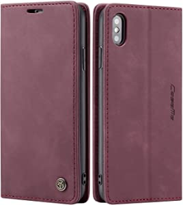 iPhone Xs Max Wallet Case iPhone Xs Max Leather Case, SINIANL Folio Case with Kickstand Credit Card Holder Magnetic Closure Folding Flip Book Cover Case for iPhone Xs Max iPhone 10S Max - Wine Red