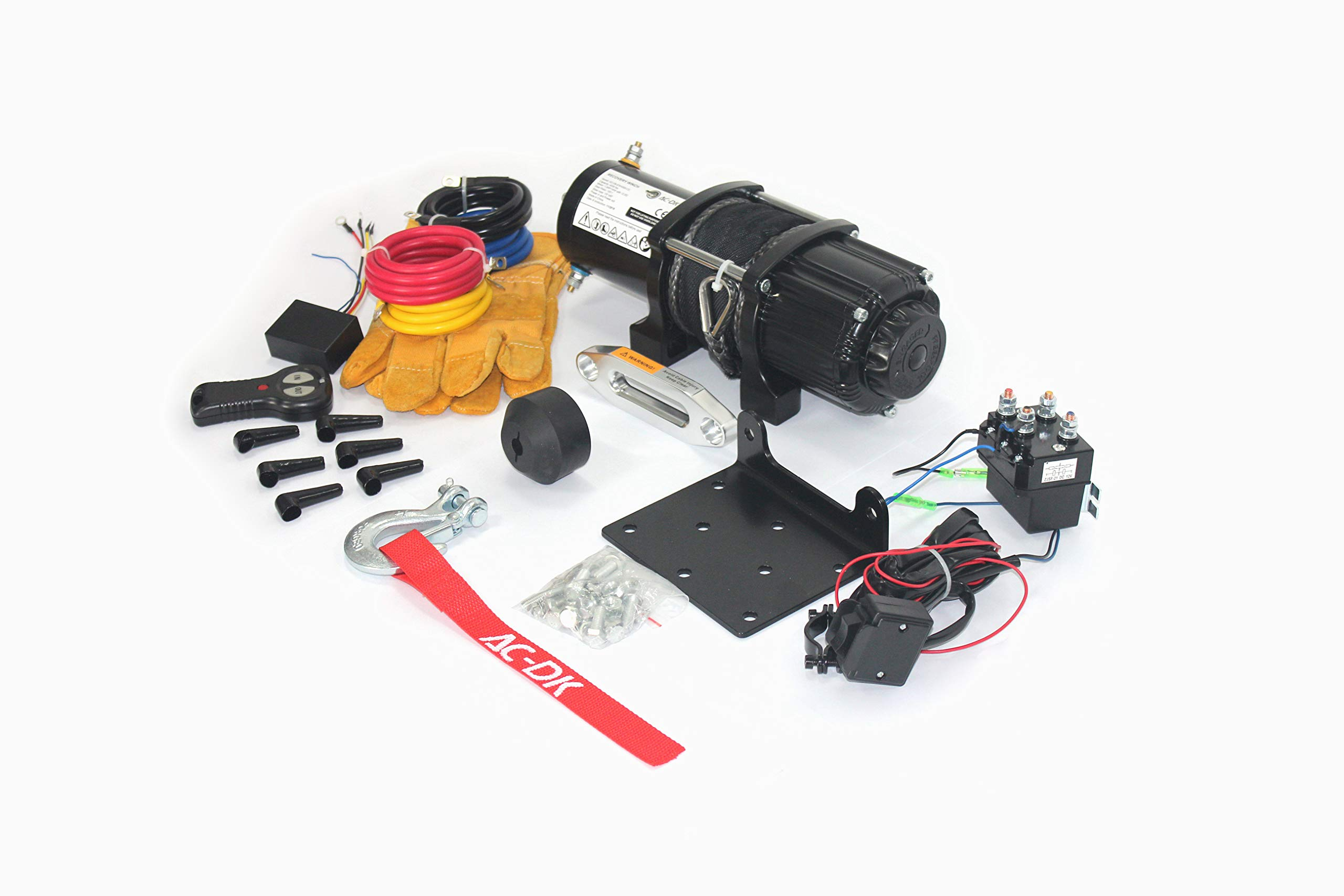 AC-DK 12V 4500lb ATV Winch UTV Winch Electric Winch Set for 4x4 Off Road (4500lb Winch with Synthetic Rope) by AC-DK (Image #2)