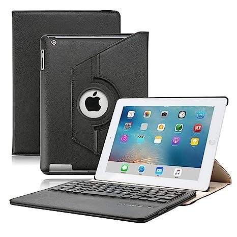 KVAGO Luxury Stylish iPad 2 3 4 Funda de cuero para teclado + Protector de pantalla ...