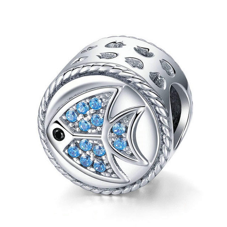 EverReena Beads Summer Design Blue Sea Fish for Silver Bracelets