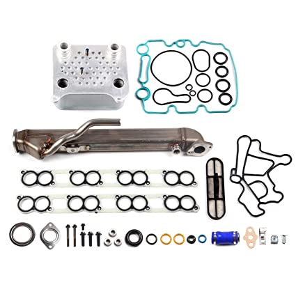 Upgraded Oil Cooler Kit, ECCPP Front Automotive Replacement EGR Cooler Kit Stainless Steel for Ford