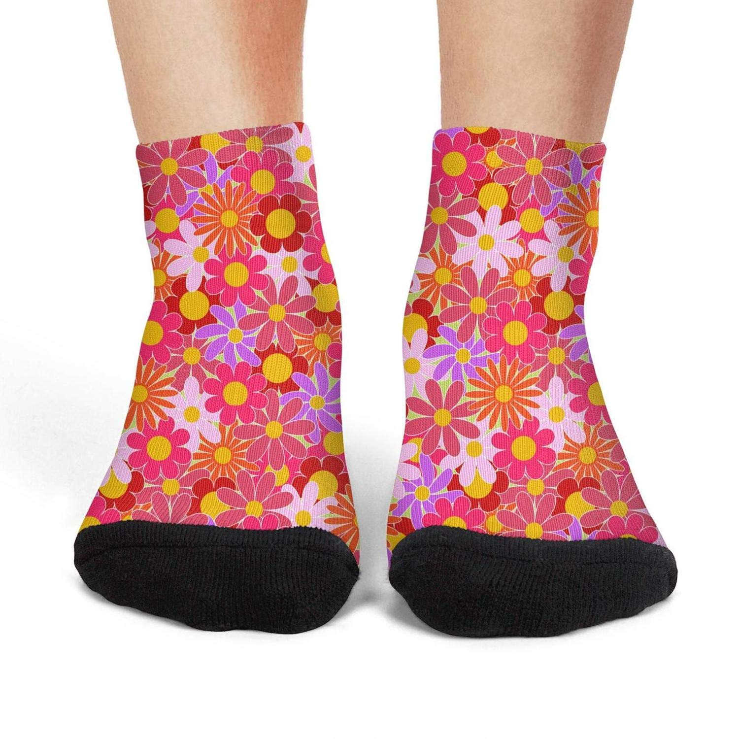 Mens athletic low cut Ankle sock red daisy floral sticker Short Sports Sock