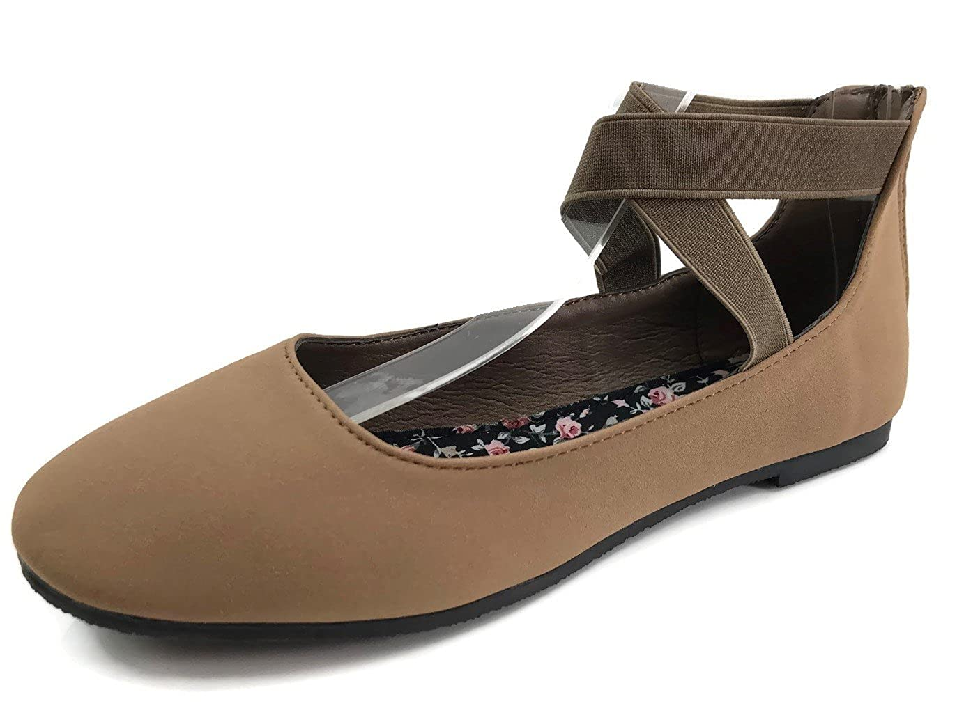 Womens and Girls Ankle Wrap Ballet Flats with Criss Cross Elastic and Zipper DANICA