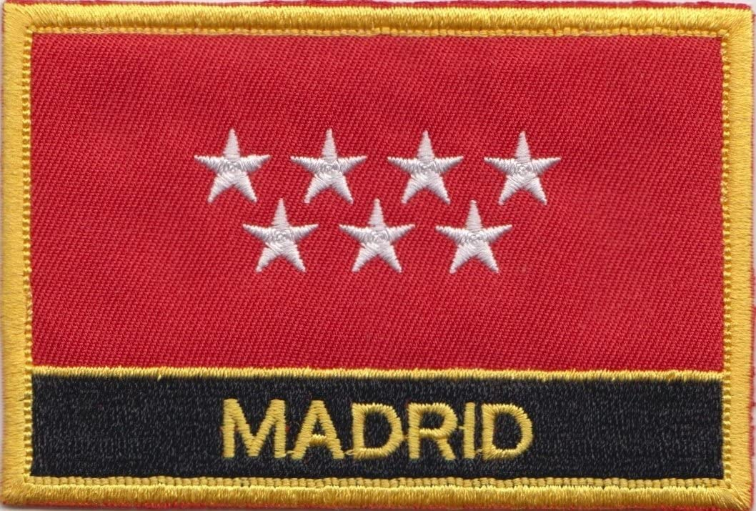 Madrid ciudad España Bandera Bordada rectangular parche Badge: Amazon.es: Jardín