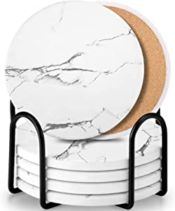 Coaster Sets of 6 Pieces, Absorbent CeramicStone Marble Pattern Coasters with Cork Base, White Coasters for Drinks with Metal Holder Stand, Decorations for Living Room and Coffee Table Decor