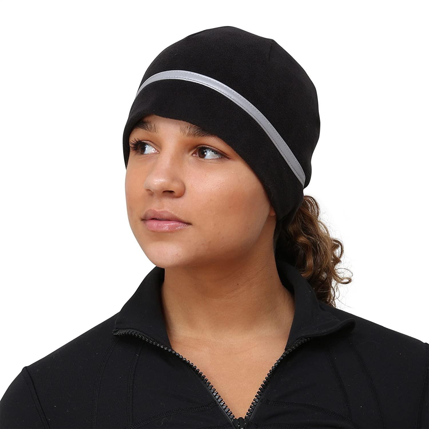 TrailHeads Women's Ponytail Hat - Reflective Cold Weather Running Beanie - black/pink snowflake