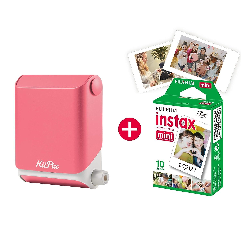 Impresora fotográ fica kiipix | Smartphone Compatible inmediato Impresora fotográ fica | con Fujifilm Instax Mini Starter Paquete | Polaroid de imá genes Flor de Cerezo TOMY E72871