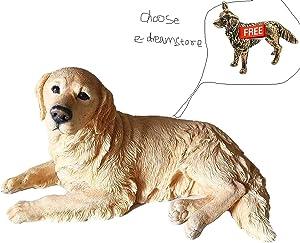 1P Resin Golden Labrador Retriever Dog Lying Posture Garden Statue Simulation Animal Dog Pendulum Model Car Home Accessories Crafts Collectible Figurines (Golden Dog)