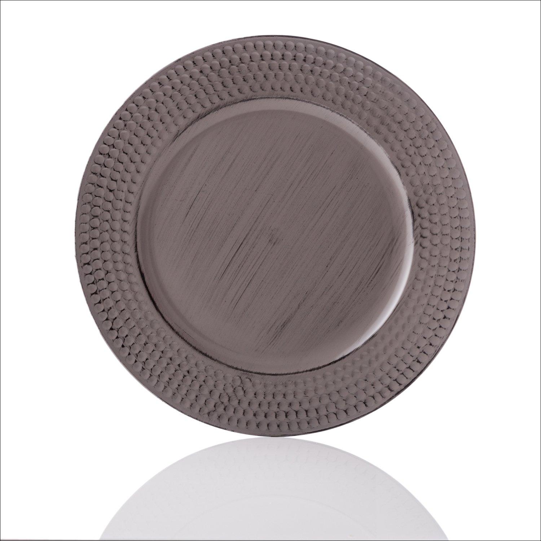 EHC Platzteller Grau 33 cm rund geh/ämmert 4 St/ück