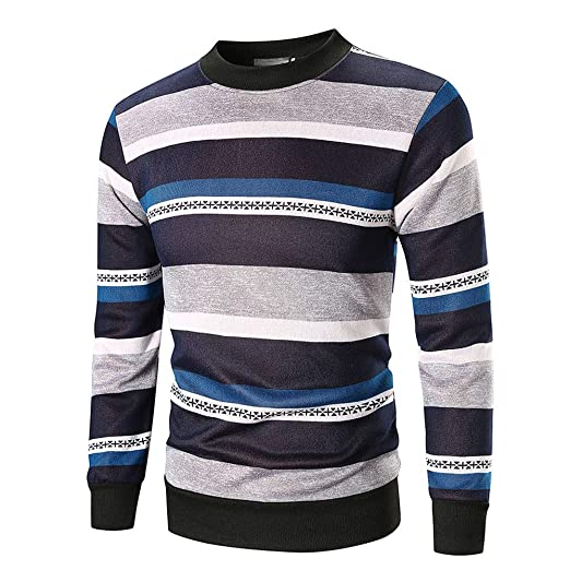 WM & MW Mens Autumn Shirt Long Sleeve Retro Boho Striped Crewneck Sweatshirt Pullover Tops Blouse