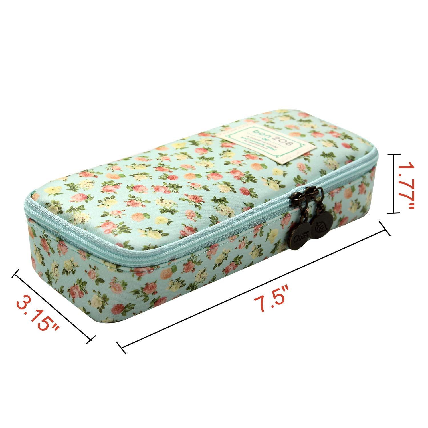 D.Sword Cute Pencil Case for Kid,Big Capacity Pen Bag Student Office Stationery Organizer for College Middle School Grade School,Floral Pencil Pouch Cosmetic Bag Makeup Bag(Light Green with Flowers) by Dragon Sword (Image #2)