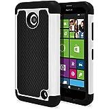 Nokia Lumia 635 Case, Nokia Lumia 630 Case, MagicMobile [Dual Armor Series] Durable [Impact Shockproof Resistant] Double Layer Cover [Hard Shell] + [Flexible Silicone] Case for Nokia Lumia 630 / 635 - Black - White