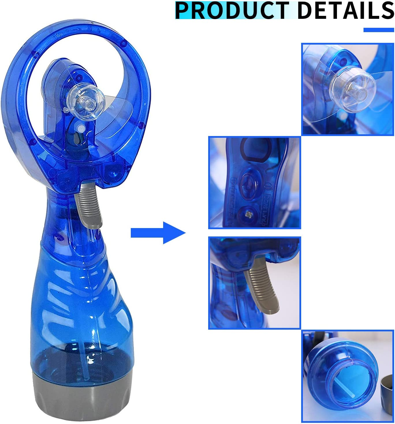 FANFX Handheld Fan with Water Mist Sprayer Portable AA Battery Powered Cooling Fans with Spray Bottle for Home Office Camping Hiking Sports Travel (Blue) Blue